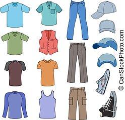 Menswear, headgear & shoes colored season collection, vector...