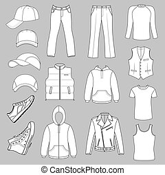 Menswear, headgear and shoes - Outlined menswear, headgear...