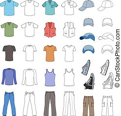 Menswear, headgear & shoes set - Outlined & colored...
