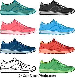 Colored sneakers shoes set - Black outlined & colored...