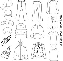 Outlined menswear, headgear & shoes season collection,...