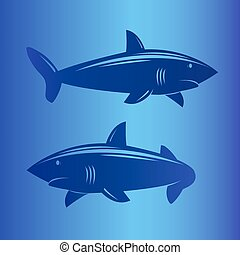 Two sharks in deep blue sea.