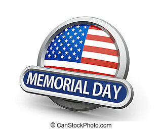 Memorial Day icon - Emblem, icon or button with american...