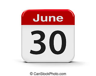 30th June - Calendar web button - The Thirtieth of June,...