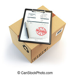Delivery concept. Cardboard box, pen, clipboard with...