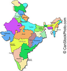 Color India map with regions over white
