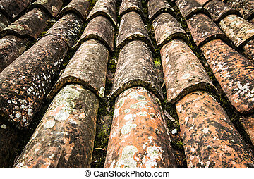 Old red roof tiles.