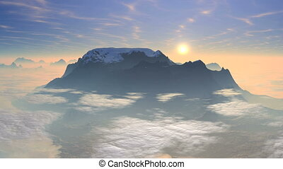 Sunrise over the mountain - Snow-covered mountain peak...