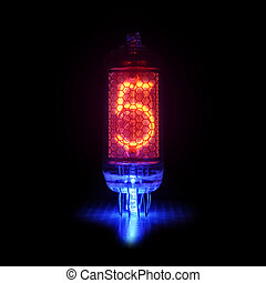 Nixie tube indicator the numbers of retro style. Digit 5 -...