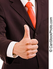 businessman gesturing tumb up - Detail of a businessman...