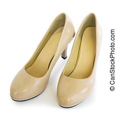 Paire, femme, chaussures, de, beige, couleur,