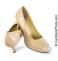 Paire, de, beau, chaussures, de, beige, couleur,