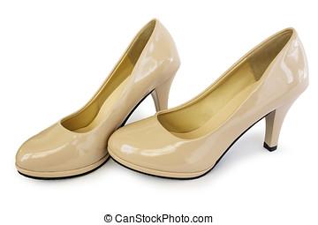 élégant, chaussures, de, beige, couleur,