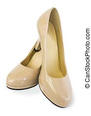 beau, chaussures, de, beige, couleur,