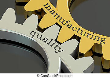 Manufacturing Quality concept on the gearwheels, 3D...