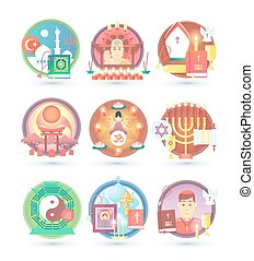 Religion and confession icons. Flat colorful concept vector...