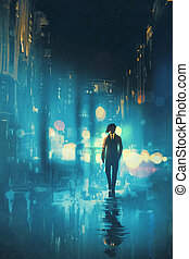 man walking at night on the wet street,illustration