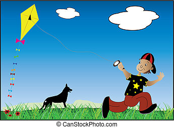 boy flying a kite - a young boy and his dog playing outdoors