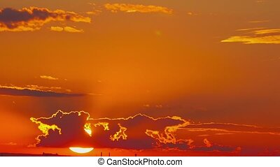 Dramatic sunset sky - Dramatic red-orange sunset sky,...