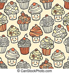 Seamless pattern with cute smiling cupcakes on warm background.