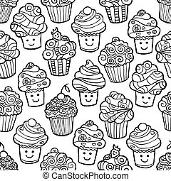 Seamless pattern with cute smiling cupcakes on white background.