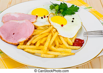 French Fries with Scrambled Eggs, Ham, Ketchup