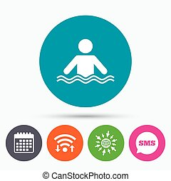 Swimming sign icon Pool swim symbol - Wifi, Sms and calendar...