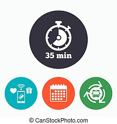 Timer sign icon 35 minutes stopwatch symbol Mobile payments,...