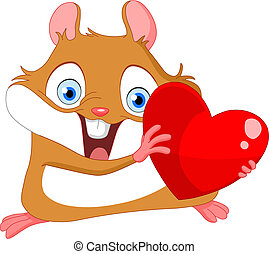 Cute hamster valentine - Cute hamster holding a heart