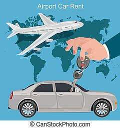 airport car rent concept, vector