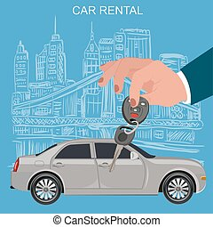 Car keys and remote, rental concept, vector illustration
