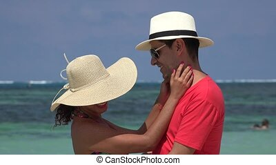 Romantic Couple Summer Vacation At Ocean