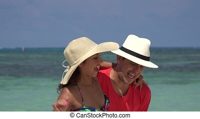 Happy Man Picking Up Woman On Vacation