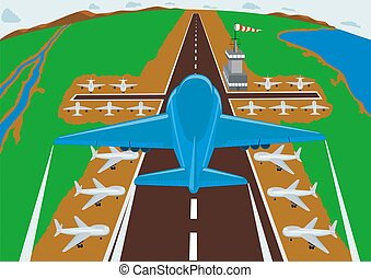 Airfield - Runway airport. Aircraft entering to land