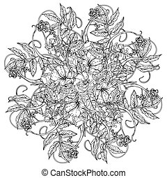 still life coloring book antistress style - flowers in shape...