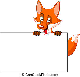 Fox with sign - Cute fox holding a blank sign