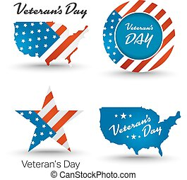 Veterans day badges with usa map and flag background