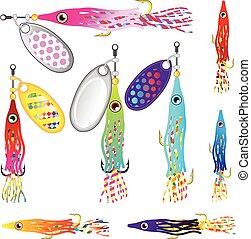 Hoochie Squid Fishing lure Spinners Vectors Trolling lure