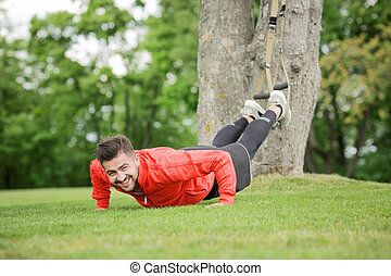Sport man training in park - Picture of sport man training...
