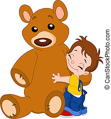 Kid hug bear - Cute kid hugging his big teddy bear