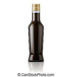 Glass soy sauce bottle. - Glass bottle with soy sauce....