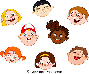 Kids faces set
