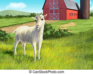 Goat and farm - Nice white goat in a rural landscape Digital...