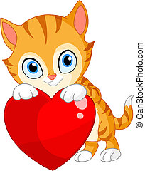 Kitten with heart valentine - Cute kitty hugging a big heart