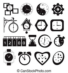 clock and time icons over light background vector...