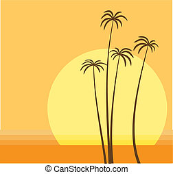 palm beach - Vector illustration of the sun is going down...