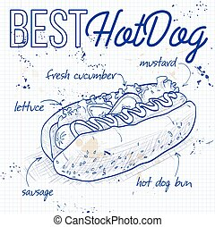 hot dog recipe on a notebook page - simple hot dog recipe...