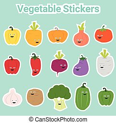 Set of funny vegetable stickers