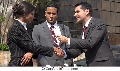 Business People Greeting  Exchanging Business Cards