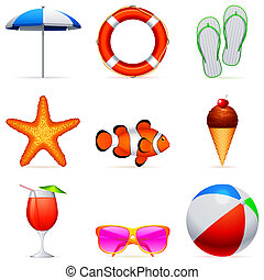 Summer vacation icons - Set of 9 summer vacation icons